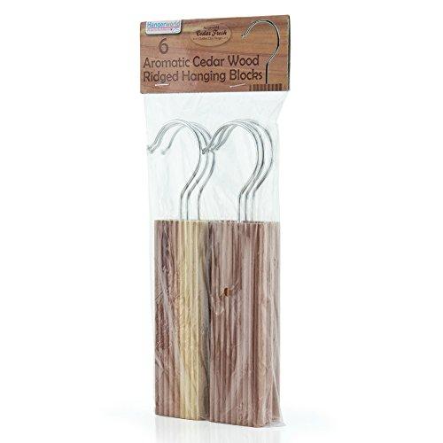 HANGERWORLD Pack of 6 Ridged Moth Repellent Hanging Cedar Wood Blocks with Odour Protection