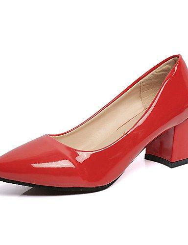 GGX/ Damen-High Heels-Lässig-PU-Blockabsatz-Spitzschuh-Schwarz / Rosa / Rot black-us6 / eu36 / uk4 / cn36