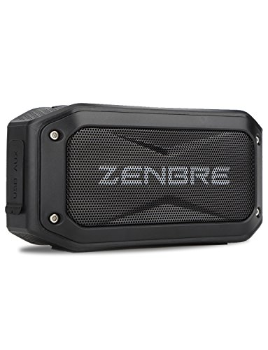 Bluetooth Speaker, ZENBRE D5 Bluetooth 4.1 IPX7 Speaker, 40H Playtime with 6W Boom Bass, Compact Portable Speaker in Rugged Design, Micro SD card Slot, Bike Mount Screw (Black)