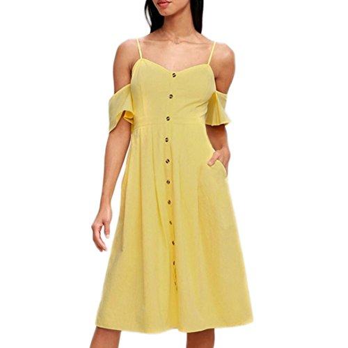 Vestidos Mujer Casual,Mujeres Vacaciones Rayas Damas Verano Playa Botones Vestido de Fiesta LMMVP Y