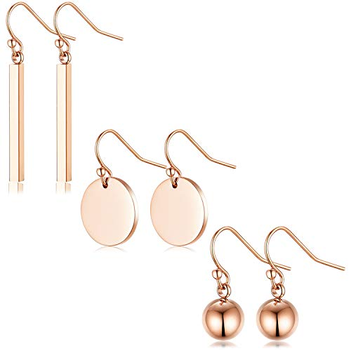 18K Gold Plated Geometric Earring hooks - SPINEX Womens Girls Vintage Cute Cuboid Wafer Steel Ball Beads Earring Jewelry for Thanksgiving, Christmas and Black Friday