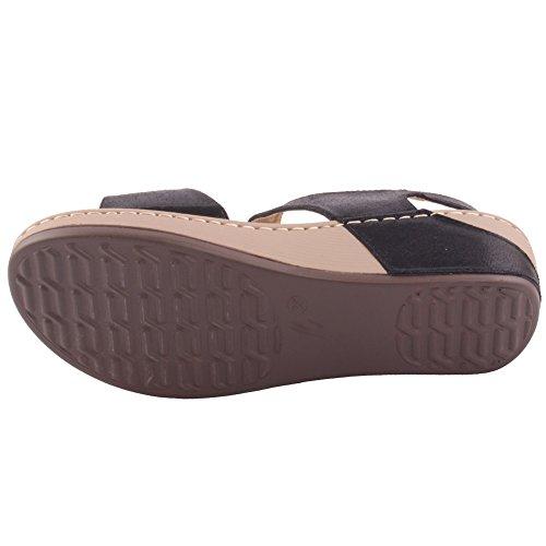 Unze Zapatos cómodos de las sandalias del verano de las mujeres calientes de las nuevas señoras Calie 'Tamaño 3-8 Negro