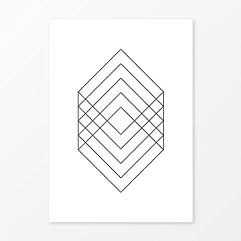 Contemporary Geometric Rectangles Print, Popular Scandinavian Wall Art, Size 5x7, 8x10, 11x14 and - Price Printed Gift Boxes