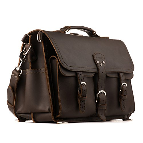 Saddleback Leather Co. Front Pocket Full Grain Leather Travel Briefcase Bag for Men Includes 100 Year Warranty ()
