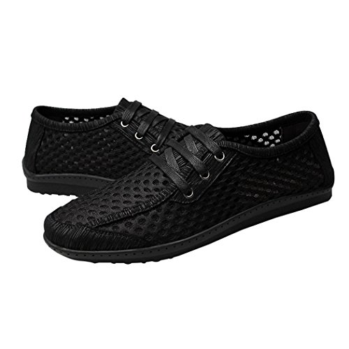 Pik & Clubs Herren Sommer Super air-breathing Mesh Schnürschuhe Fashion Sneakers Wasser Schuhe Schwarz