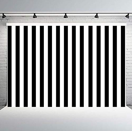 PHMOJEN Black and White Vertical Stripes Photography Backdrop Classic Fashion Background Vinyl 10x7ft Photo Studio Props HXPH123