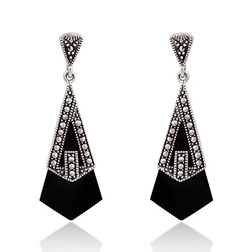 (925 Sterling Silver Elegant Genuine Onyx Stone with Marcasite Drop Stud Earrings)