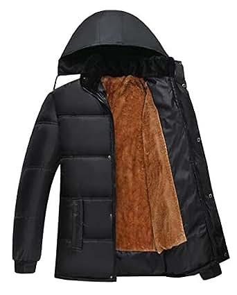 Jofemuho Men Hoodie Winter Fleece Lined Down Quilted
