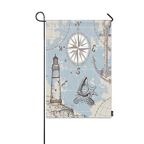 Mugod Sea Map Garden Flag Seamless Sea Map with Compass Lighthouse Anchor and Seashells Print Decorative Spring Summer Outdoor House Flag for Garden Yard Lawn 12 x 18 Inch