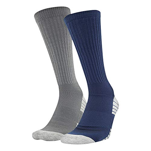 Under Armour Tech Crew Socks 2 Pairs, Academy Graphite Assorted, Large