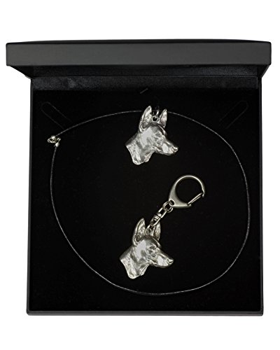 NEW, Pharaoh Hound, dog keyring and necklace in casket, DELUXE set, limited edition, ArtDog New Pharaoh Hound