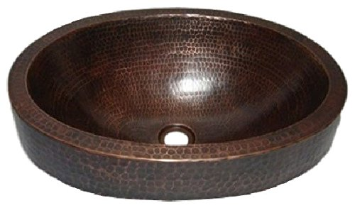 SimplyCopper 18 Oval Copper Vessel Bathroom Sink with 3 Skirt