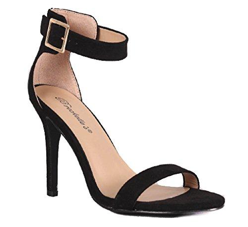 Breckelles Sydney-31 41 D-Orsay Sandals Black Faux Suede UuMgvV4V2