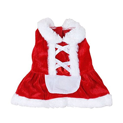 Christmas Dog Clothes Santa Doggy Costumes Clothing Pet Apparel New Design Coat Dog Apparel Cold Weather Dog Jacket Small Dogs Pet Clothes For Dog Cat Puppy Sweatshirt Sweater Dog Outfits (XS, Red)