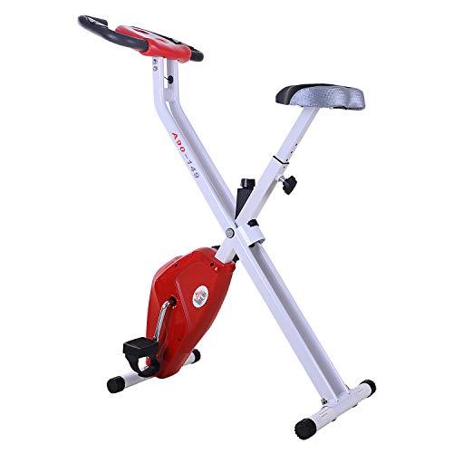 🥇 HOMCOM Bicicleta Estática Plegable Bicicleta de Ciclismo Vertical con Resistencia de 8 Niveles Pantalla LCD Asiento Ajustable Soporta hasta 110 kg 83x43x110 cm