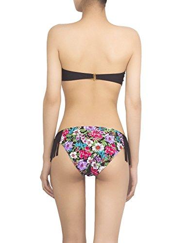 iB-iP Mujer Borla De Relieve V Forma Bandeau De Poca Altura Conjunto De Bikini Negro