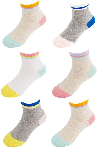 Girls Boys Cute Stripe Cotton Quarter Socks, Vintage Style Combed Cotton Stretchy Novelty Fashion Dress Socks, 5-8T, (6pp) from Keewen