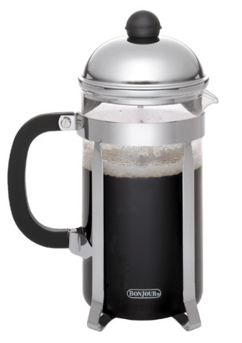 BonJour Coffee Stainless Steel French Press with Glass Carafe, 12.7-Ounce, Monet, Black Handle