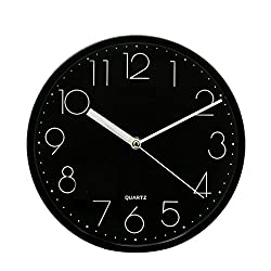 SANNIX Silent Decorative Round Non-ticking Quartz Digital Wall Clock-Black,9inch