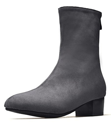 IDIFU Womens Elegant Faux Suede Zip Up Square Toe Mid Calf Boots With Heel Grey k2uGTJ3J