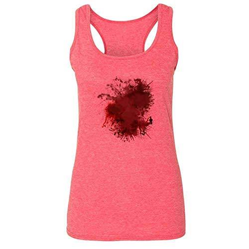 Pop Threads Blood Splattered Horror Bloody Halloween Costume Heather Fuchsia L Womens Tank Top ()