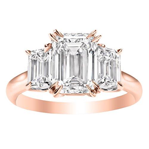 1.4 Carat 14K Rose Gold Emerald Cut 3 Three Stone Diamond Engagement Ring (I Color VS1-VS2 Clarity)