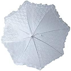 Plain Bridal Shower Wedding White Lace Umbrella Parasol 32""