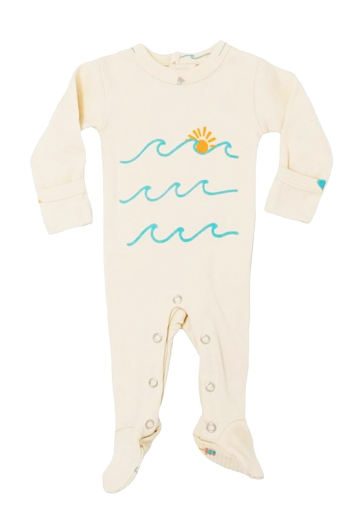L'ovedbaby Unisex-Baby Organic Cotton Footed Overall (3-6 Months, Beige Waves)