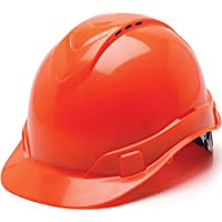 Pyramex Ridgeline Cap Style Hard Hat, Vented, 4-Point Ratchet Suspension, Hi-Vis Orange