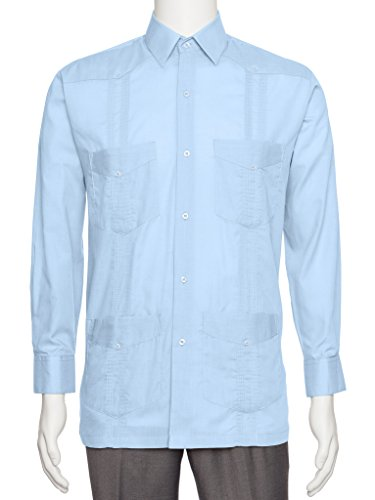 Gentlemens Collection Mens Linen Look Guayabera Shirt - Long Sleeve Cuban Shirt Light Blue - Collection Mens Shirt