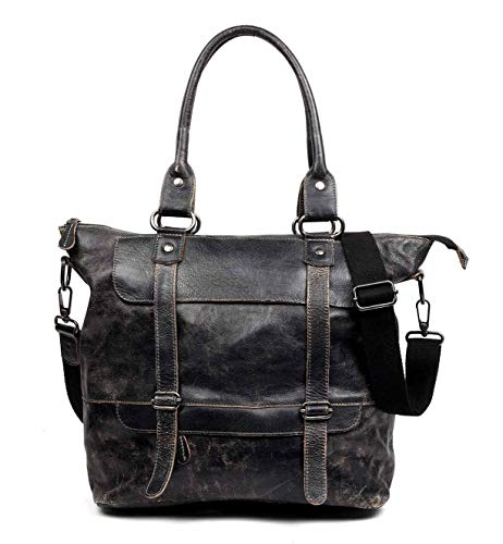 Bed|Stu Women's Big Fork Shoulder Leather Bag (Black Lux) (A Cotton In Brushed Bag Bed)