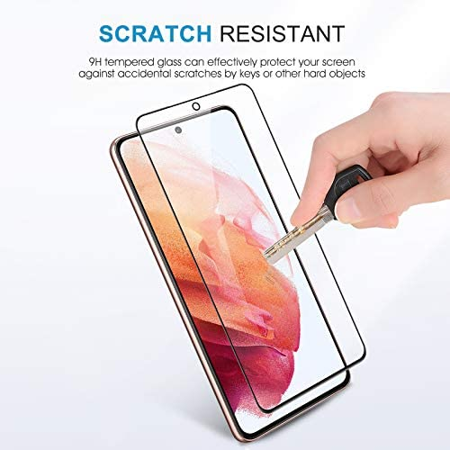 2+2 Pack SPARIN Screen Protector + Camera Lens Protector Compatible with Samsung Galaxy S21 6.2 Inch, Tempered Glass Screen Supporting Fingerprint Sensor