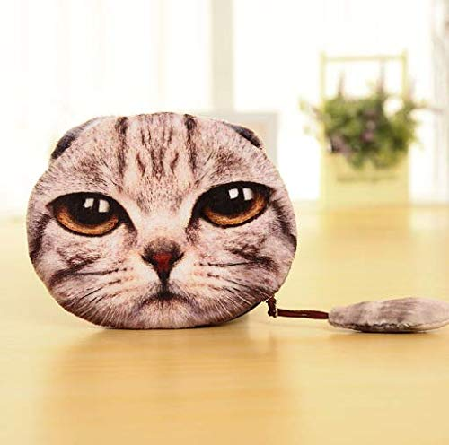 Unisex Cute Animal Cartoon 3D Cat Face Bag Coin Change Purse Case Wallet Change Pocket Ladies Workmanship Change Purse(1PCS) from TrendsGal