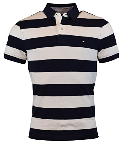 Tommy Hilfiger Men's Custom Fit Wide Stripes Polo (Medium, Navy/White) - Tommy Hilfiger Polo Rugby
