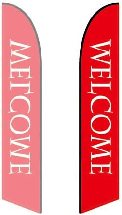 - Style 1 Welcome Double-Sided, Poles and Spike Base Included 10ft Feather Banner
