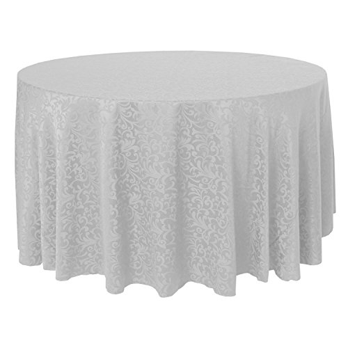 - Ultimate Textile -5 Pack- Somerset 120-Inch Round Damask Tablecloth - Jacquard Weave Scroll Design, White