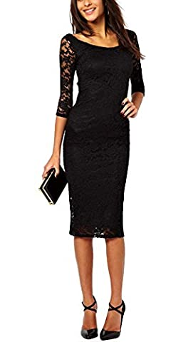 Women Summer Spring 2/3 Sleeves Lace Overlay Evening Party Midi Dress Below Knee Black S - Holiday Stretch Lace Dress