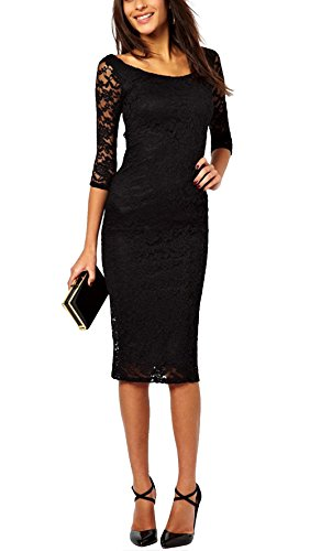 Women's Lace 3/4 Sleeves Midi Business Slim Cocktail Party Short Formal Dress...