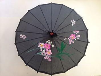 Chinese Japanese Black Fabric Umbrella Parasol 32u0026quot;