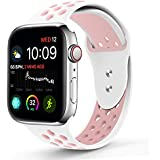 RUOQINI Compatible for Apple Watch 40MM 44MM, Dual-Color Soft Silicone Sport Replacement Band Compatible for Apple Watch Series 4 S/M M/L Size