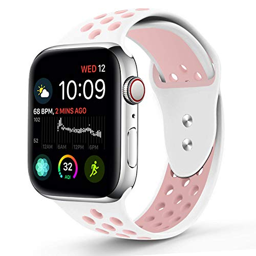Compatible for Apple Watch 38MM,RUOQINI Dual-color Soft Silicone Sport Replacement Band Compatible for Apple Watch Series 3, Series 2, Series 1 (S/M Size in White/Light Pink Color)