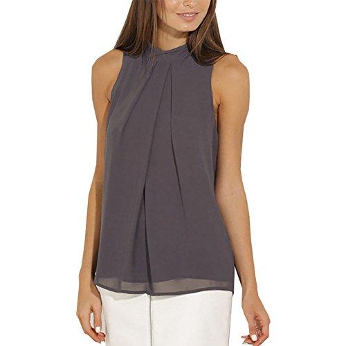 KOINECO - Camiseta sin mangas - para mujer gris oscuro