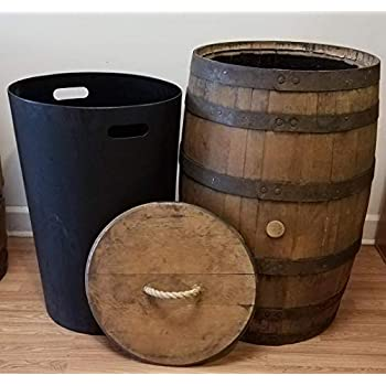 Amazon Com Whiskey Barrel Trash Can With Lid And Liner