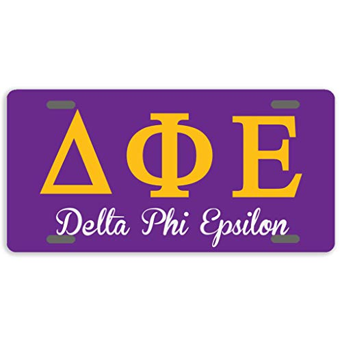 "Eprocase License Plate Cover Delta Phi Epsilon License Plate Aluminum Car Plate Decorative Car Tag Sign Metal Auto Tag Front License Plate 4 Holes (12"" x 6"")"