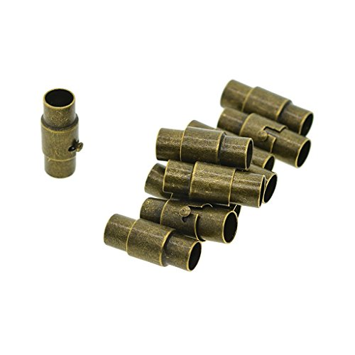 Baosity 10 Sets 4mm 5mm Glue In Tube Magnetic Clasps End Cap Connectors Fastener for Leather Bracelet Kumihimo Cord - 5mm