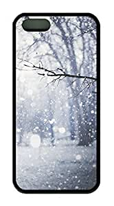 Branch Of Tree Covered With Snow Theme Case for IPhone 5 5S Rubber Material Black by icecream design