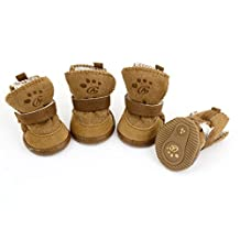 URBEST Brown Hook Loop Closure Booties Pet Dog Chihuahua Shoes Boots 2 Pair (s)