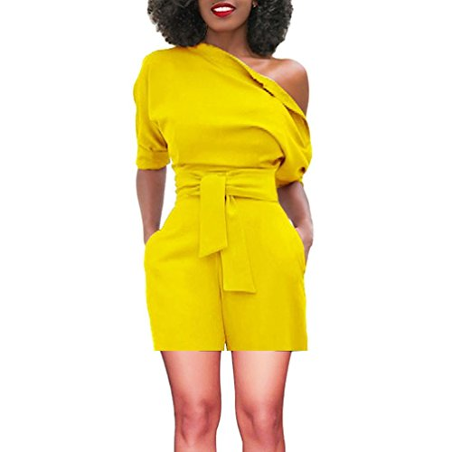 vermers Women's Short Romper - Sexy Off Shoulder Ruffle Fashion Casual Jumpsuit(L, Yellow) ()