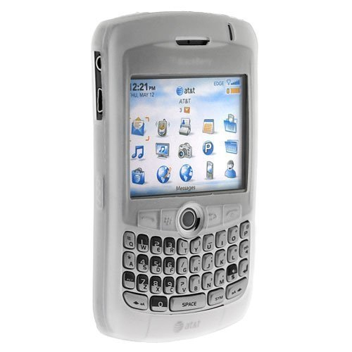 Blackberry 8300 Curve PDA Soft & Flexible Silicone Skin Case - Clear/White ()