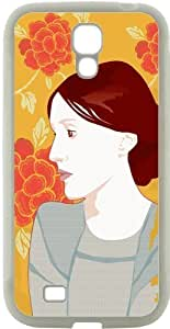 Samsung Galaxy S4 i9500 Cases Customized Gifts Cover Profile of brunette woman with orange floral background Case for Samsung Galaxy S4